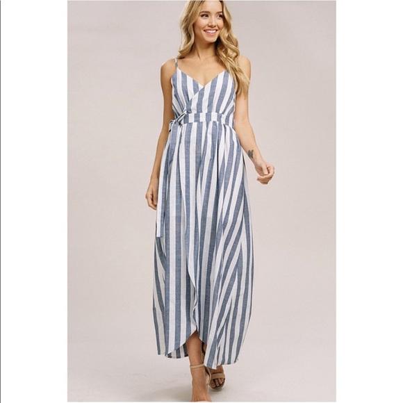 900e2a90612 Navy Striped Linen Wrap Maxi Dress